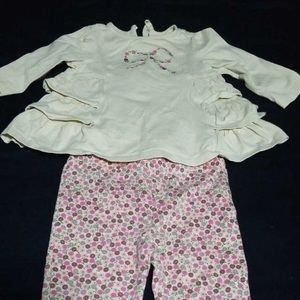 Savannah cream and pink flower Outfit 3-6M